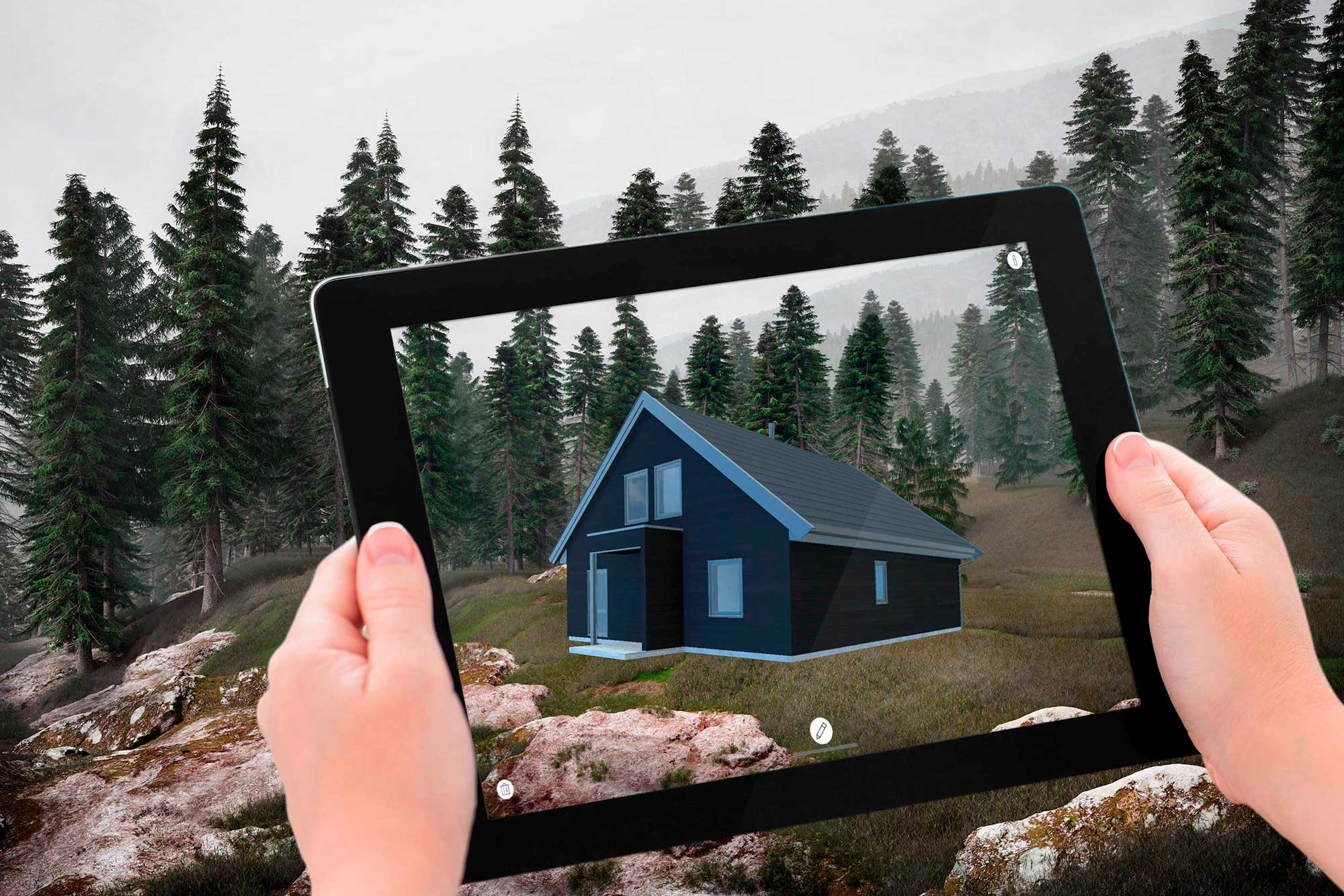 Augmented Reality Solutions by Cadesign form - a wooden house on an iPad blends in with the landscape