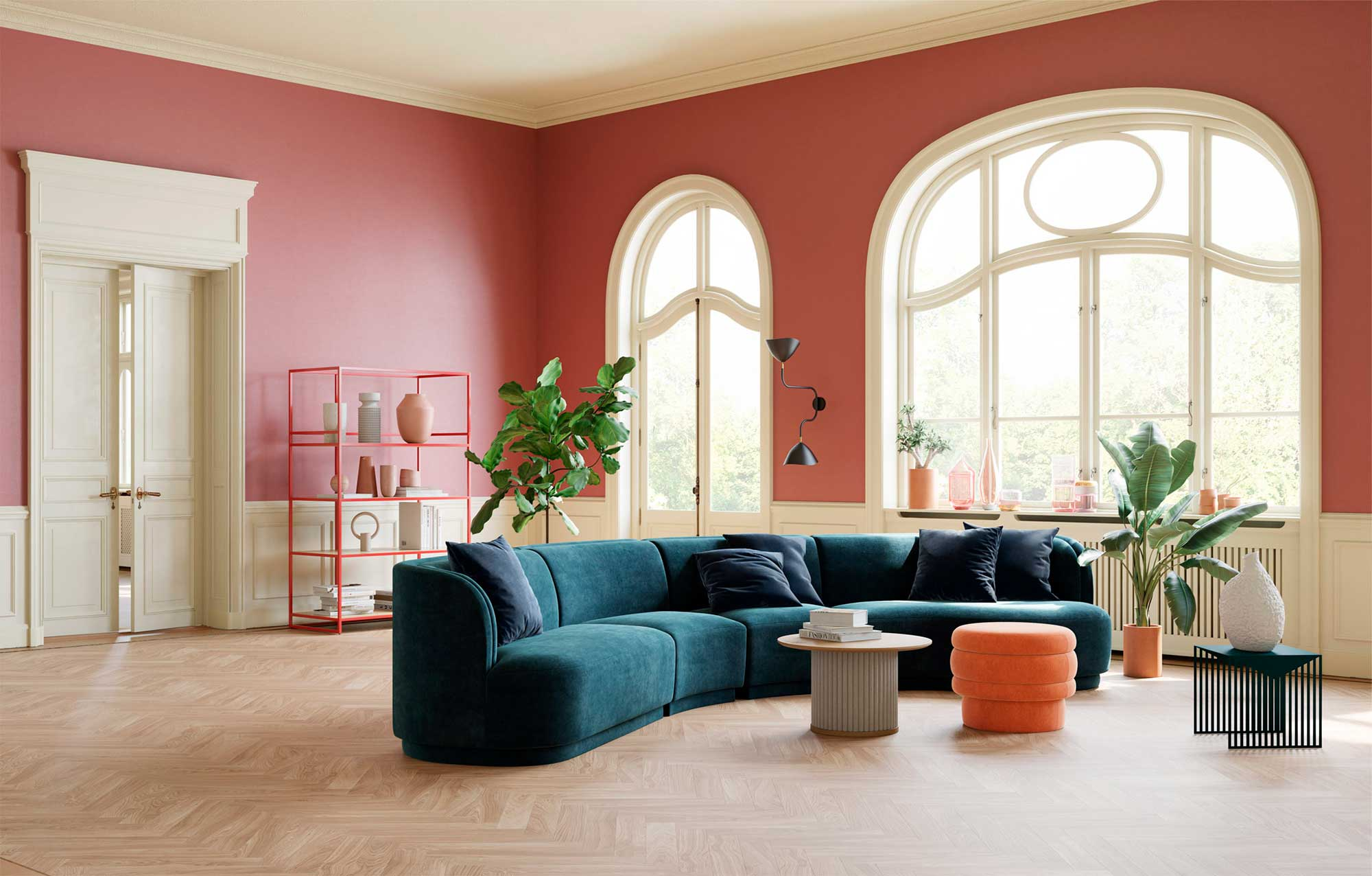 Sofa in modernem Altbau, farbenfroh bunt