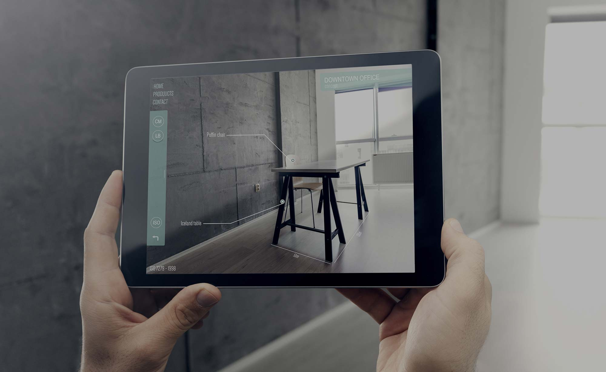 Augmented Reality Solutions by Cadesign form - a dining table is shown as if being in the same room as the customer